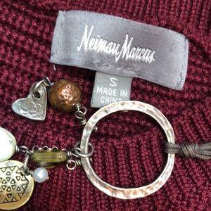 Neiman Marcus Burgundy Merlot Peplum Sweater